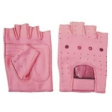 Pink Leather Fingerless Gloves