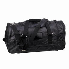 "Duffel Bag - Genuine Mosaic Leather - Black - Main Compartment and 3 Zippered Pockets - 4 No-Slip Feet - Detachable Padded Shoulder Strap - Great for Gym or Travel - 21"" × 10"" × 11"""
