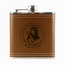 6oz Leather Engraved Hip Flask