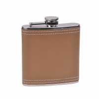 Genuine Leather Hip Flask Holding 6 oz - CKB Products Pocket Size, Stainless Steel, Rustproof, Screw-On Cap - Brown Finish - Black Gift Box Included