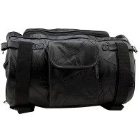 """Motorcycle Bag - Barrel Style - All Genuine Black Leather - Fits Any US Bike - Extra Storage Pockets Featuring Rugged Construction - 14 3/4"""" × 9 3/4"""" × 9 3/4"""""""