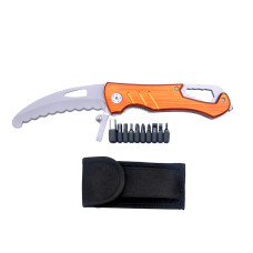 Tool Knife - Multi-Function - Works as a Phillips or Flathead Screwdriver or Allen Wrench - Comes with Bits, Adapter, Socket, Glass Breaker, Nylon Sheath