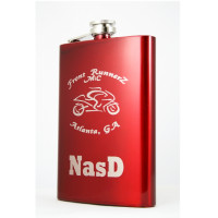 Engraved Neon Red Hip Flask