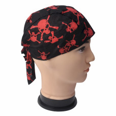 Red Skull and Cross Bones Skull Cap