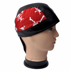 Faux Leather Trim Skull And Cross Bones Do Rag