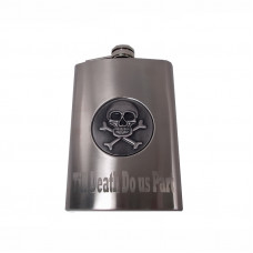 Engraved Flask with Skull