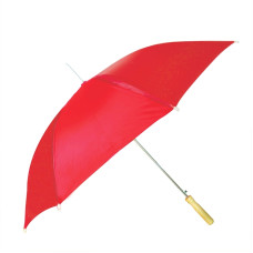 "CKB Products Wholesale Rain Umbrella - Red - 48"" Across - Rip-Resistant Polyester - Auto Open - Light Strong Metal Shaft and Ribs - Wood Color Handle"
