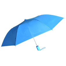 "Compact Umbrella - Blue - Great for Travel - Lightweight - 21"" Across - 15.75"" Long - Push Button Auto Open - Polyester - Flat Top"