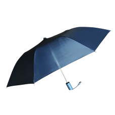 "Compact Umbrella - Navy Blue - Great for Travel - Lightweight - 21"" Across - 15.75"" Long - Push Button Auto Open - Polyester - Flat Top"