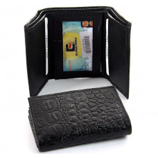 Black Leather -Crocodile Embossed -Tri-Fold Wallet