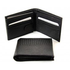 Black Leather Wallet - Lizard Embossed