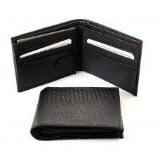 Black Leather Wallet - Lizard Embossed