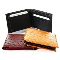 Ostrich Embossed Leather Bi-fold