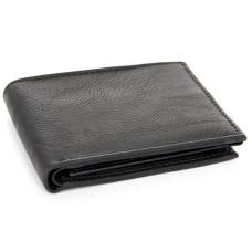 Black Leather Double Bill Men's Wallet