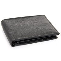 Black Leather Double Bill Men's Wallet