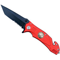 "CKB Products Fire Fighter Folding Knife - Firefighter Design - 3"" Hardened Black Stainless Steel Blade - Seat Belt Cutter, Glass Breaker - 8 1/8"" Open, 4 1/2"" Closed"