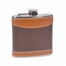 6oz Leather Wrapped Hip Flask