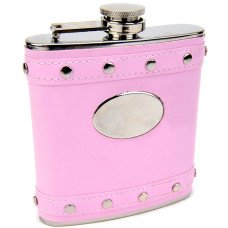 Engravable Silver Stud Hip Flask with Pink Faux Leather