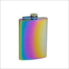 8oz Rainbow Colored Hip Flask