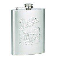 8oz Stainless Steel Raised Design Hunter Engravable Flask