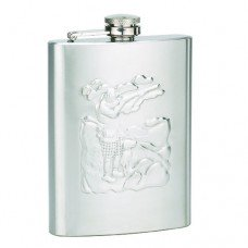 8oz Stainless Steel Raised Design Hunter Engravable Flask