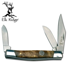 Simulated Burl Wood Handled Trapper Knife