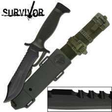 SURVIVOR SURVIVAL KNIFE WITH ABS SHEATH