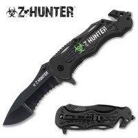 Half Serrated Black Zombie Hunter Knife