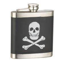 6oz Black Skull X-Bone Flask