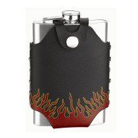 8oz Flask with Fire Design Carry Pouch