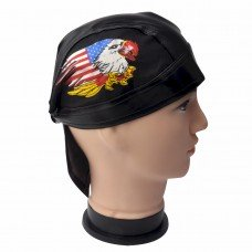 American Pride Faux Leather Biker Skull Cap
