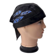 Blue Flame Faux Leather Do Rag
