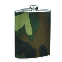 Silver Flask with Camouflage Wrap