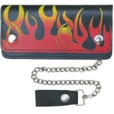 6 Inch Flame Leather Chain Wallet for Bikers