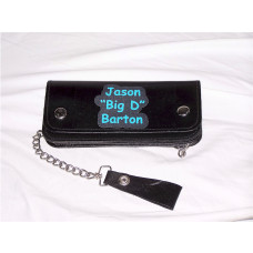 8 Inch Custom Print Personalized Leather Biker Wallet with Chain