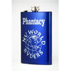 Personalized Electric Blue Engraved Flask