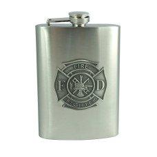 8oz Fire Fighter Emblem Flask