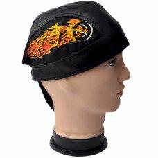 Flaming Motorcycle Biker Skull Cap