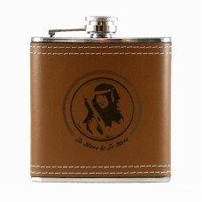 6oz Leather Engraved Hip Flask