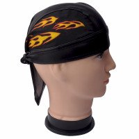 Orange Flame Faux Leather Do Rag