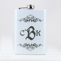 Personalized White 8oz Hip Flask