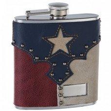 "6oz Genuine Leather ""Texas Pride"" Hip Flask"