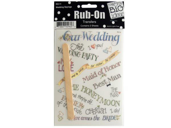 WEDDING Sayings Rub-On Transfers