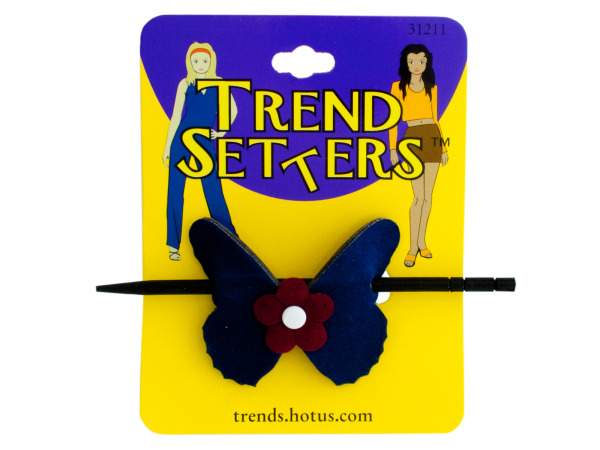Butterfly HAIR CLIP with Wooden Stick
