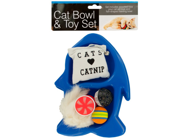 Fish-Shaped Cat Bowl & Toy Set