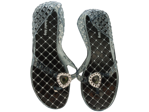 Ladies Glitter Jelly SANDALS with Jeweled Hearts
