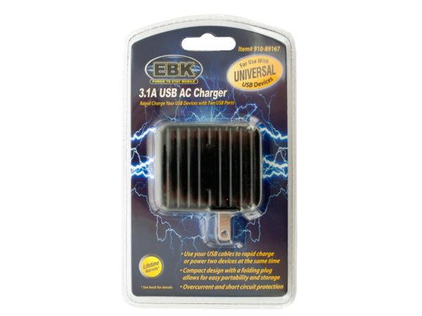 3.1 Amp Dual Port USB AC Charger
