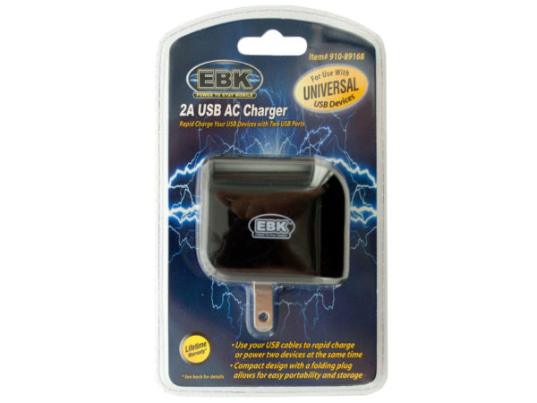 2 Amp Universal Dual Port USB AC Charger