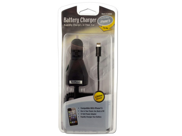 Black iPHONE Car Charger with Cord