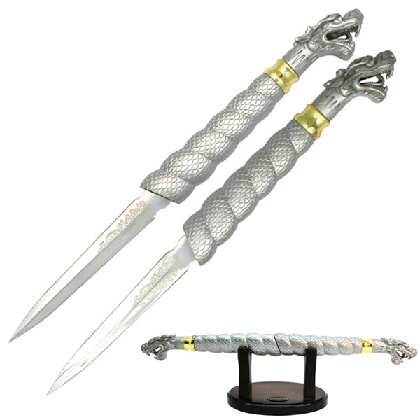 DOUBLE DRAGON DAGGER WITH STAND